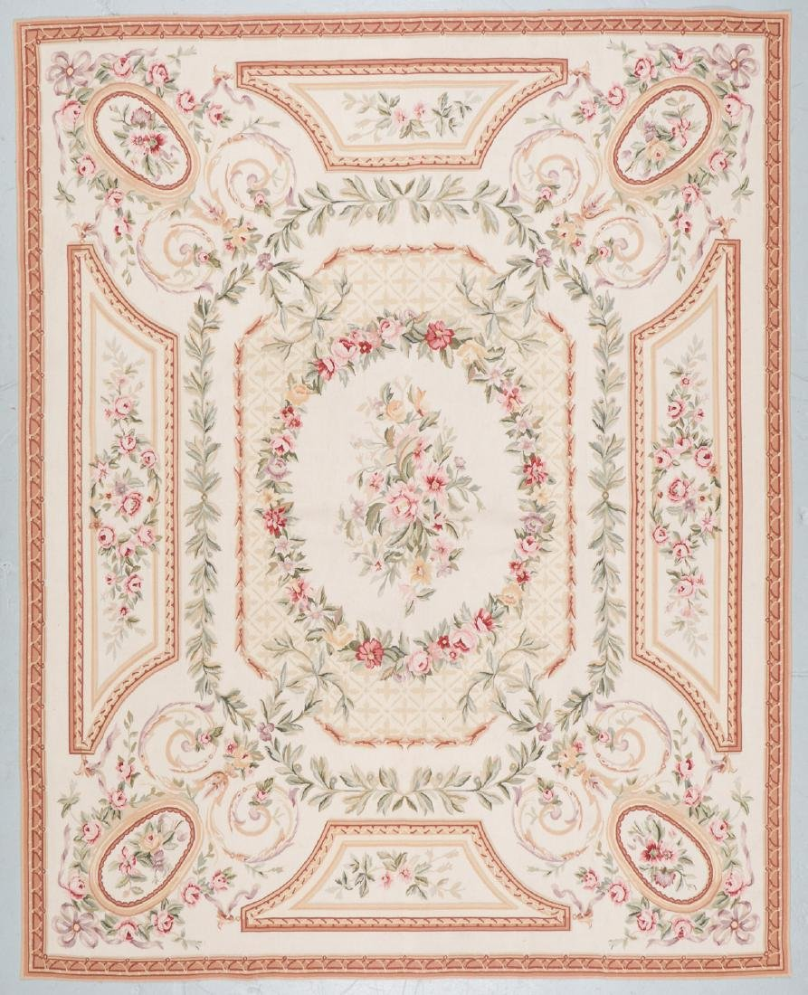 Aubusson Wool Tapestry Carpet: 119'' x 95''