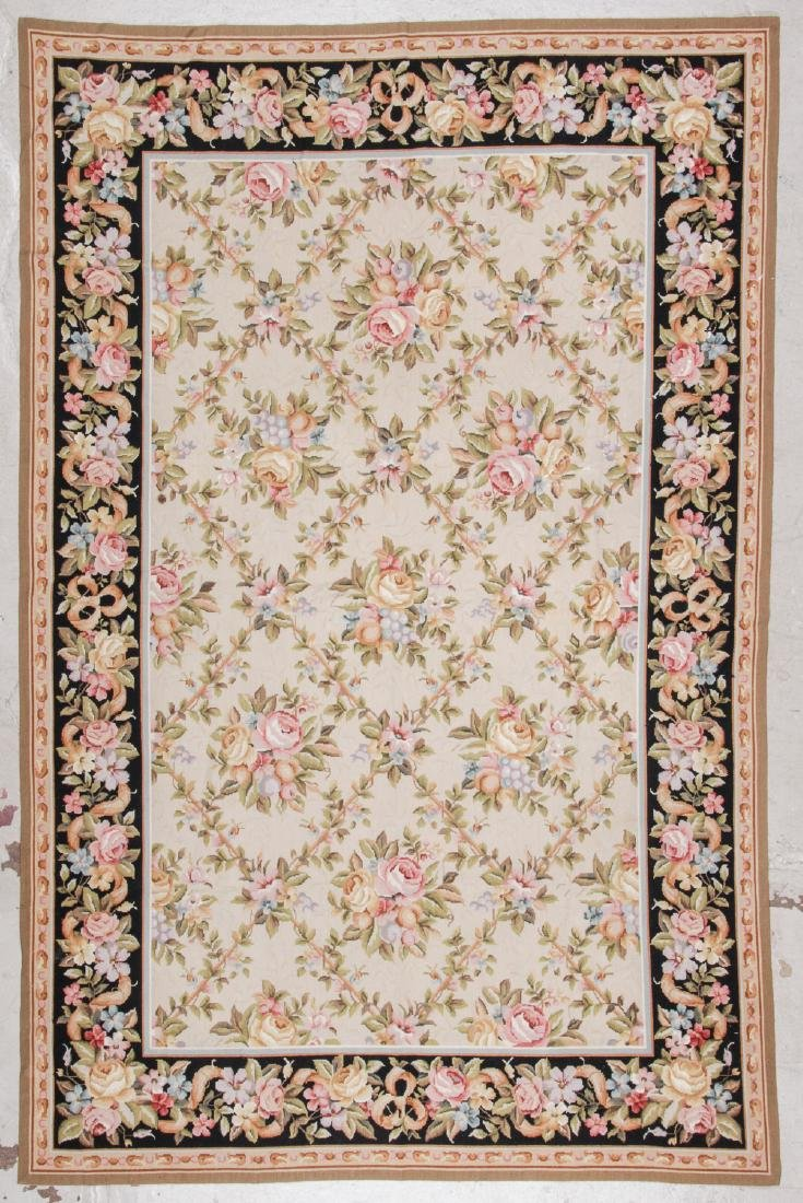 Vintage Continental Style Needlepoint Rug: 5'10'' x