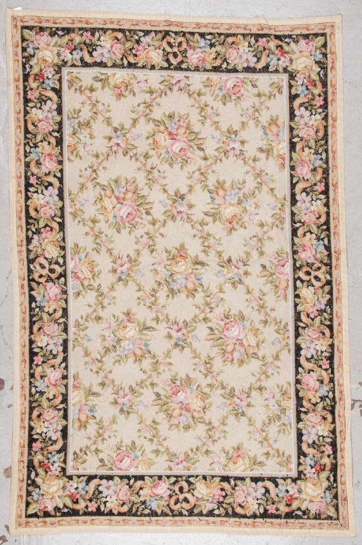 Vintage Continental Style Needlepoint Rug: 5'10'' x - 5