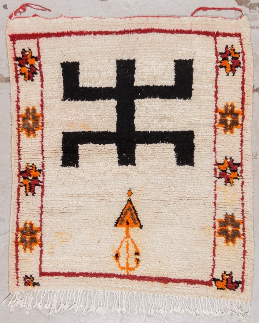 Vintage Moroccan Rug: 3'5'' x 3'10''