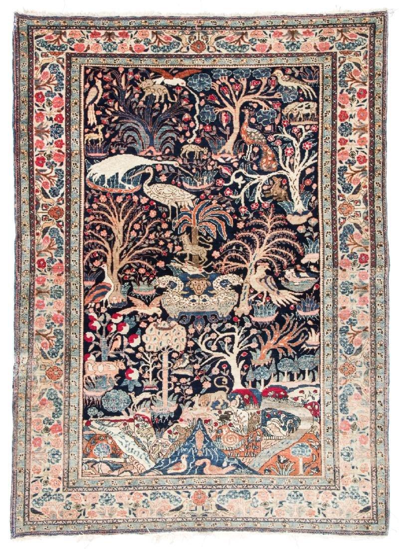 Antique Tebriz Pictorial Rug, Persia: 4'7'' x 6'4''