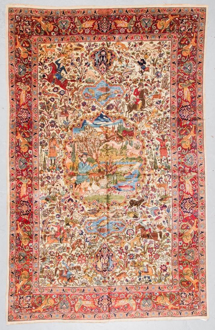 Semi-Antique Tabriz Pictorial Rug, Persia: 7'5'' x