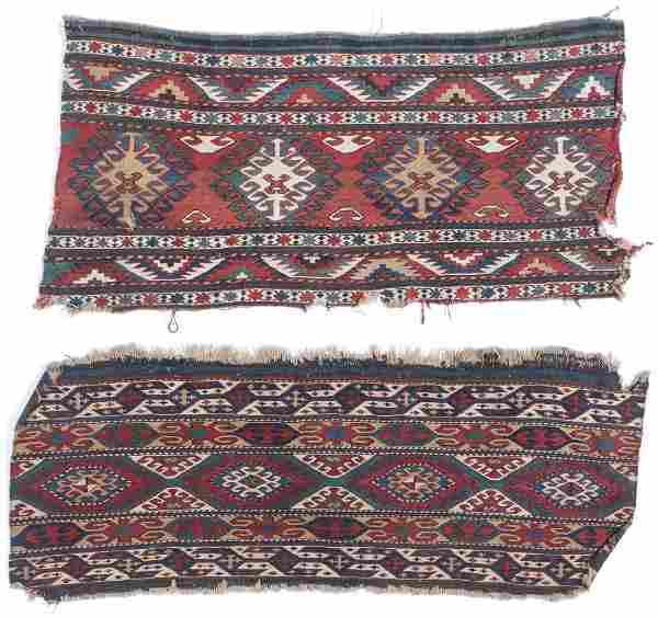2 Antique Caucasian Sumak Cargo Panels