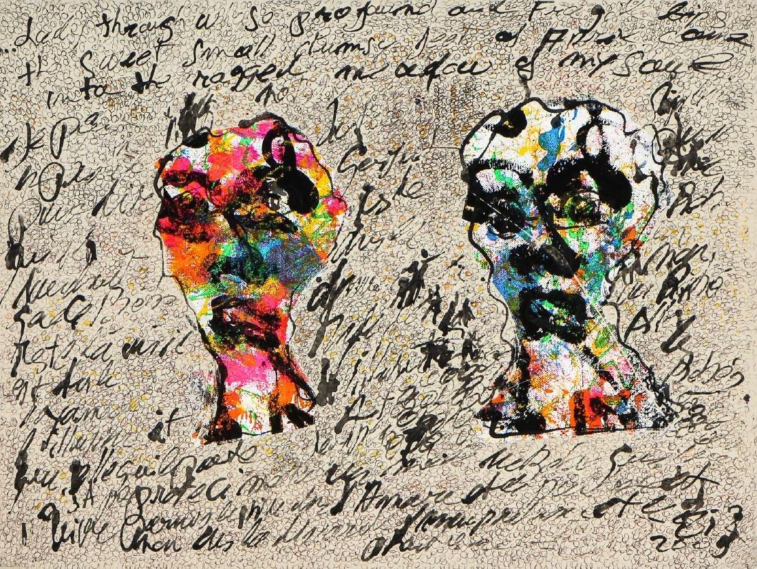 Gilles Rieu (b. 1953) Mixed media painting