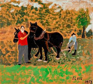 """Early Howard Finster Painting (1916-2001) """"Elvis"""" and"""