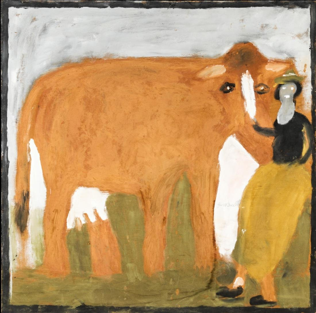 Jimmy Lee Sudduth (American, 1910-2007) Cow