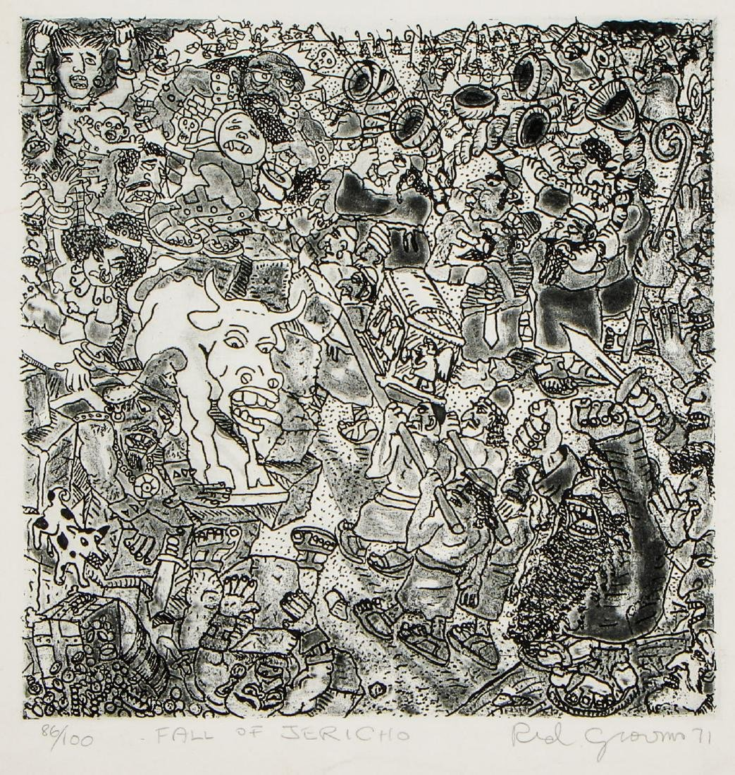 """Red Grooms (b. 1937) """"Fall of Jericho"""""""