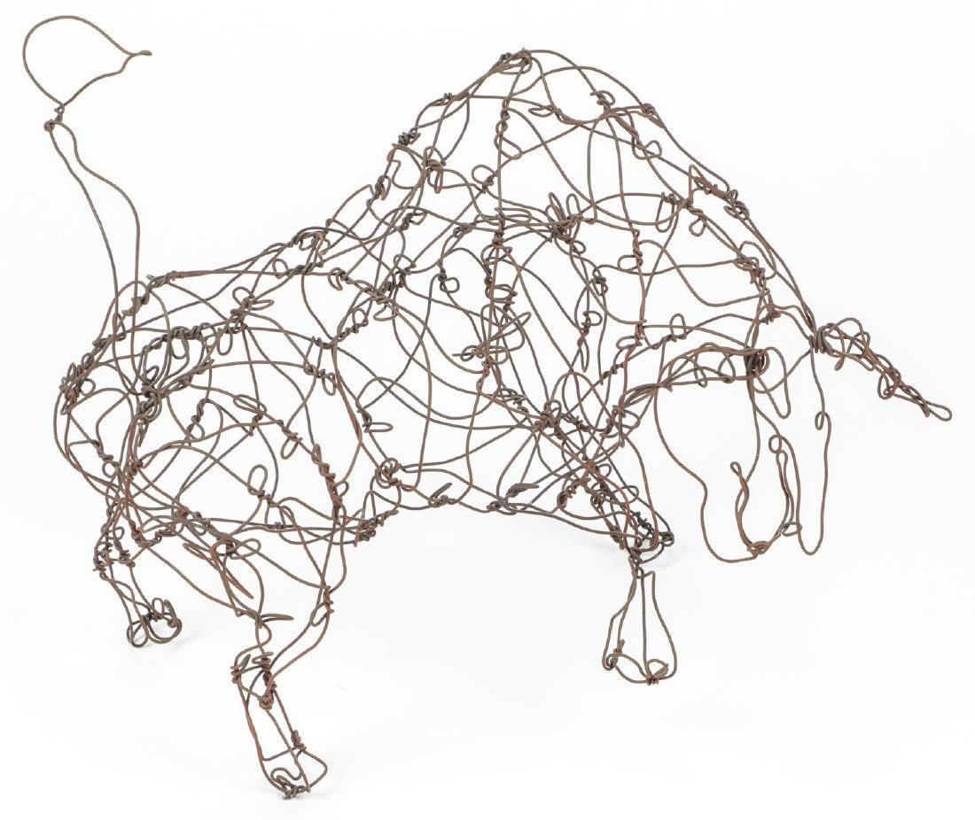 Thai Varick (1941-2001) Rearing Bull Wire Sculpture