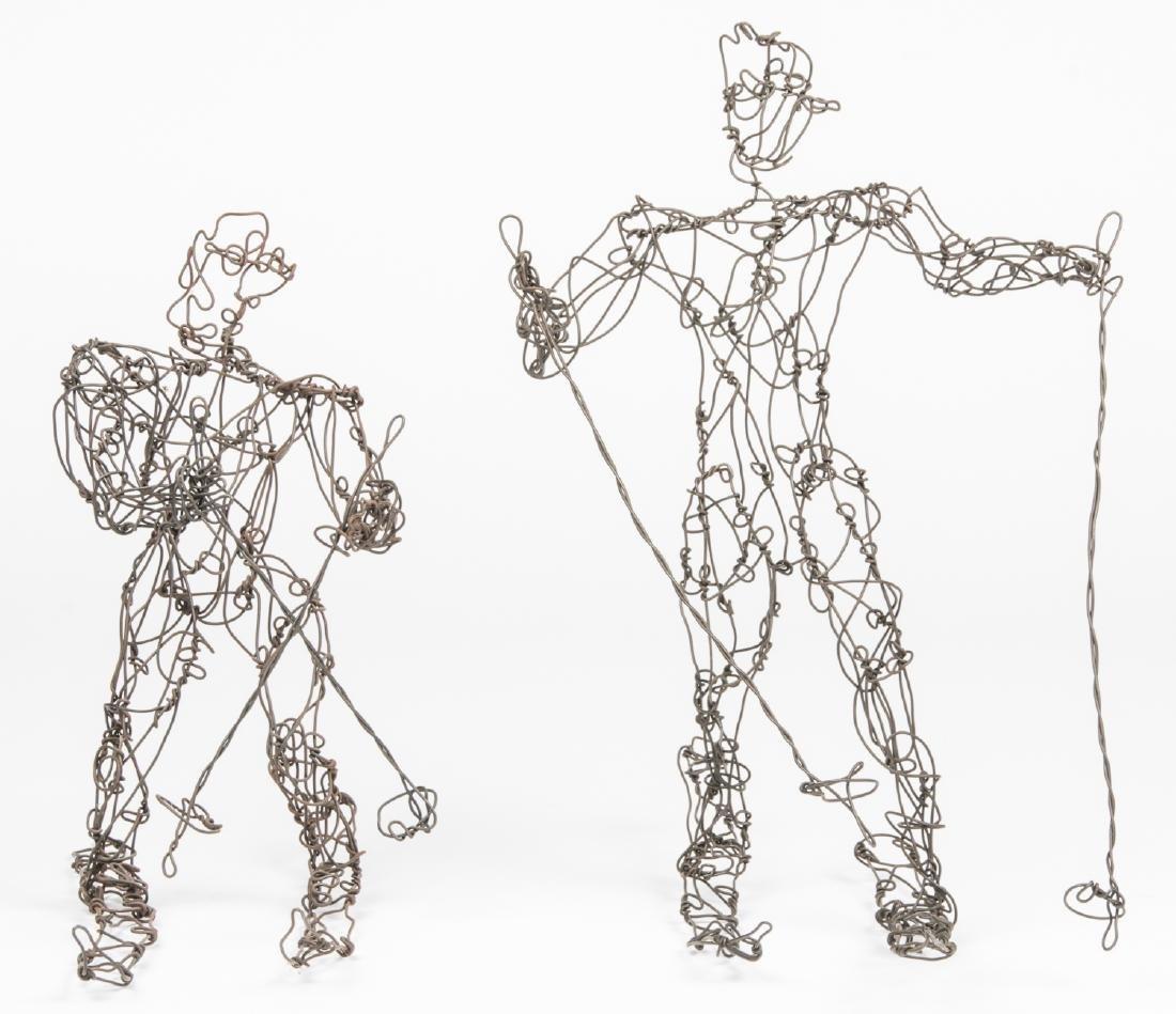Thai Varick (1941-2001) 2 Wire Sculpture Skiers