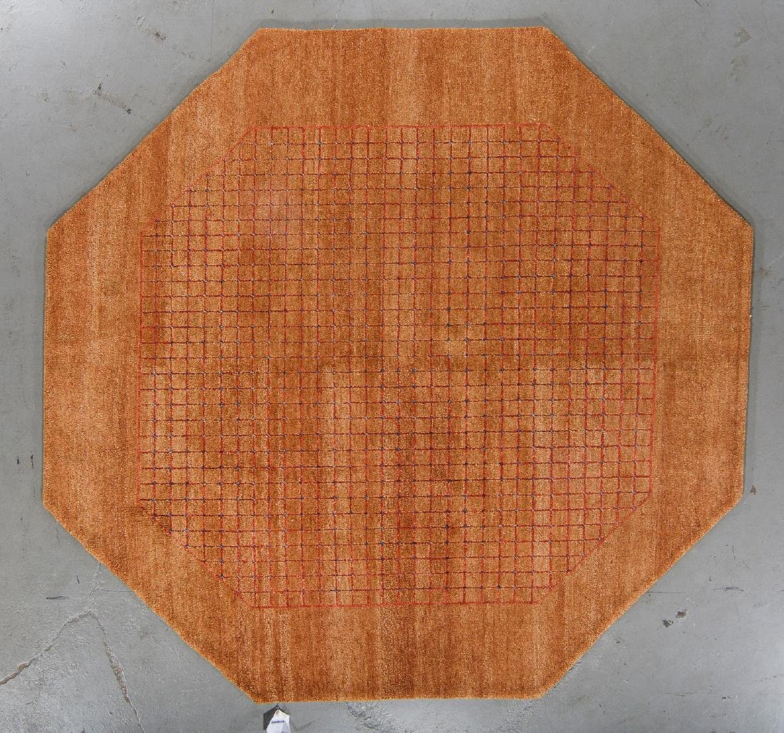 Octagonal Mid Century Style Natural Dye Rug: 7'11'' x