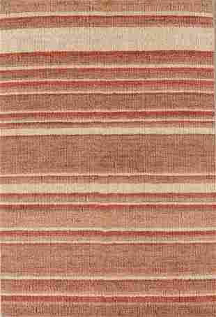 Modern HandKnotted Striped Jute Rug 4 x 68