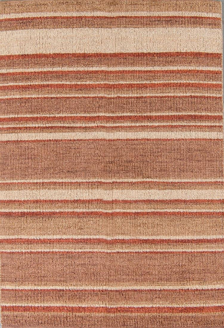 Modern Hand-Knotted Striped Jute Rug: 4' x 6'8''