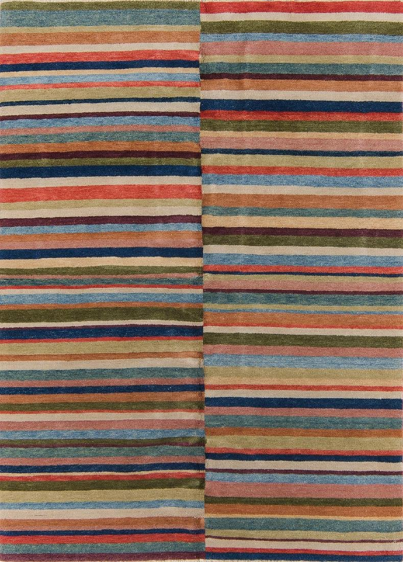 Natural Dye Rug with Stripes: 4'10'' x 6'10''