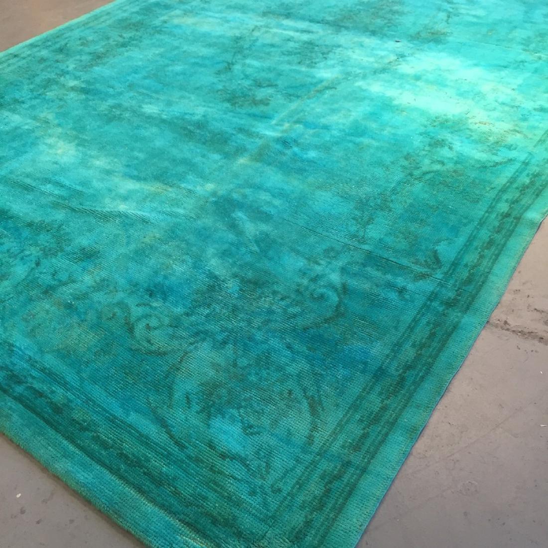 Vintage Overdyed Savonnerie Carpet, Czechoslovakia: - 5