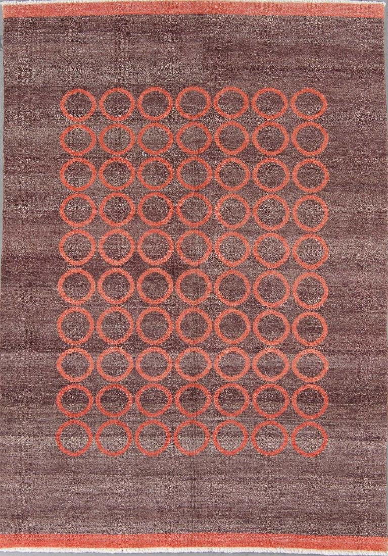 Modern Mid Century Style Natural Dye Rug: 5'10'' x