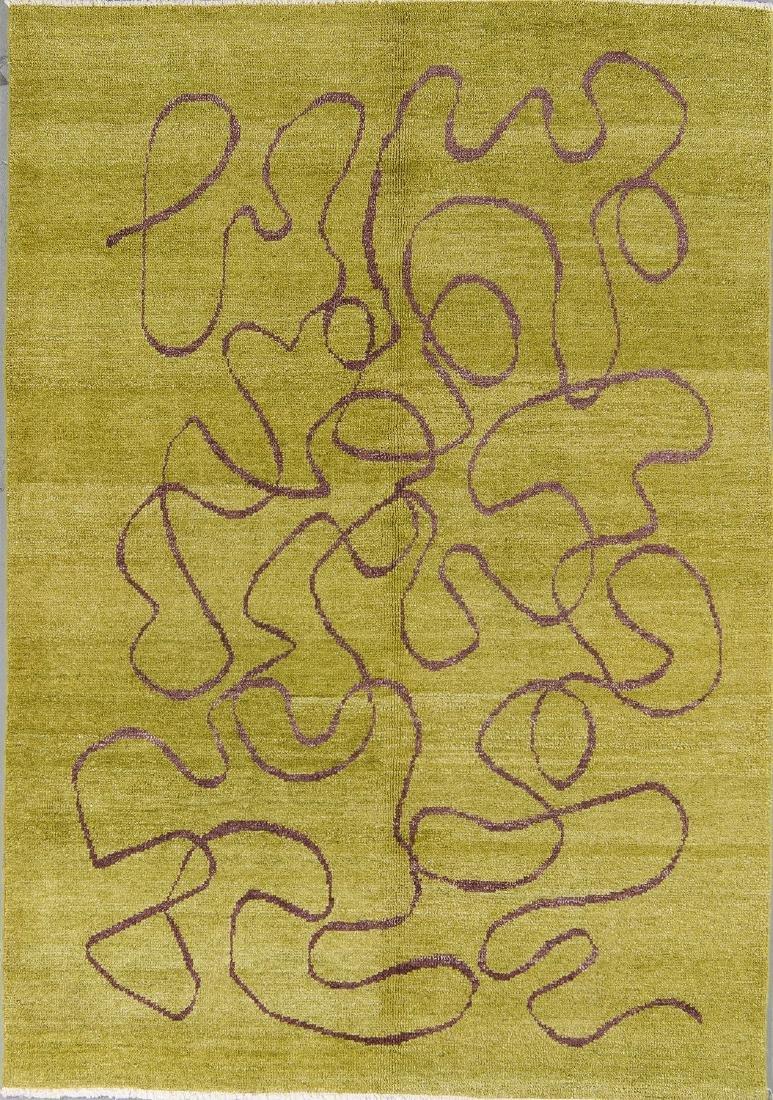 Modern Mid Century Style Natural Dye Rug: 6' x 8'8''