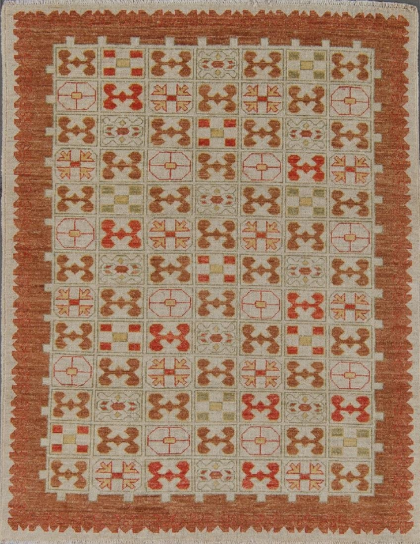 Mid Century Style Afghan Rug: 4'10'' x 3'8''