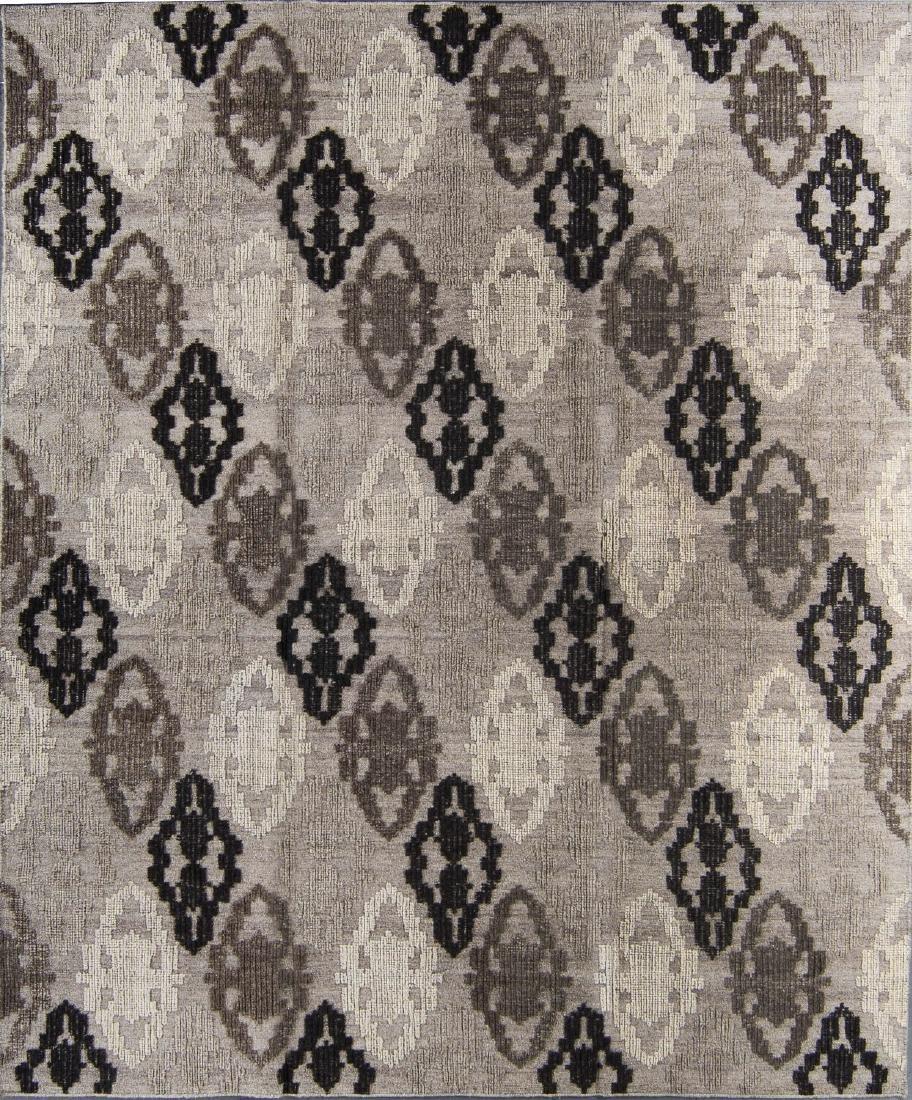 "Wool and Bamboo Silk Kilim, India: 8'1'' x 9'10"""