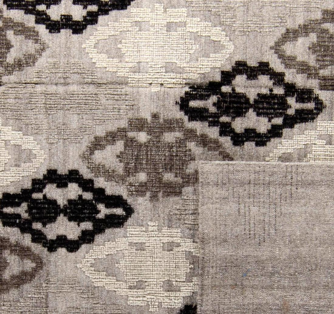 "Wool and Bamboo Silk Kilim, India: 8'1'' x 9'10"" - 2"