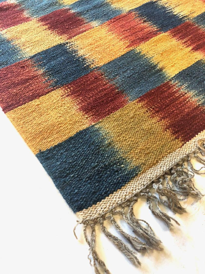 Nambu Natural Dye Ikat Kilim, Nepal: 3'2'' x 6'7'' - 5