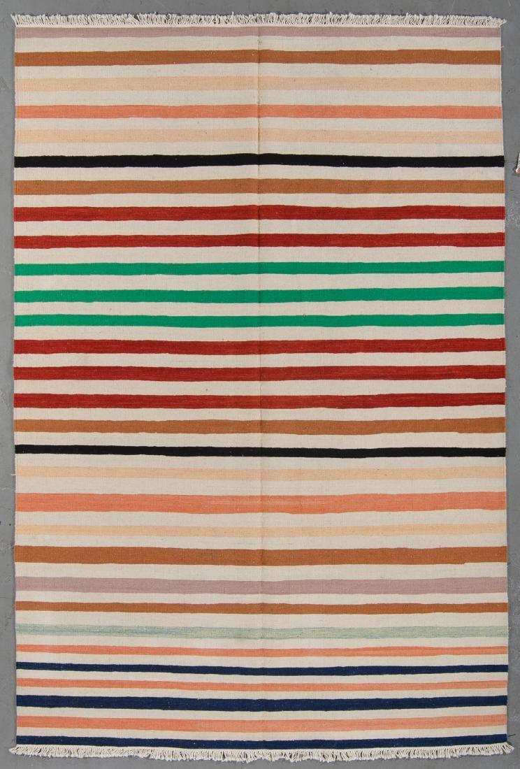 Modern Natural Dye Striped Kilim: 5'10'' x 9'