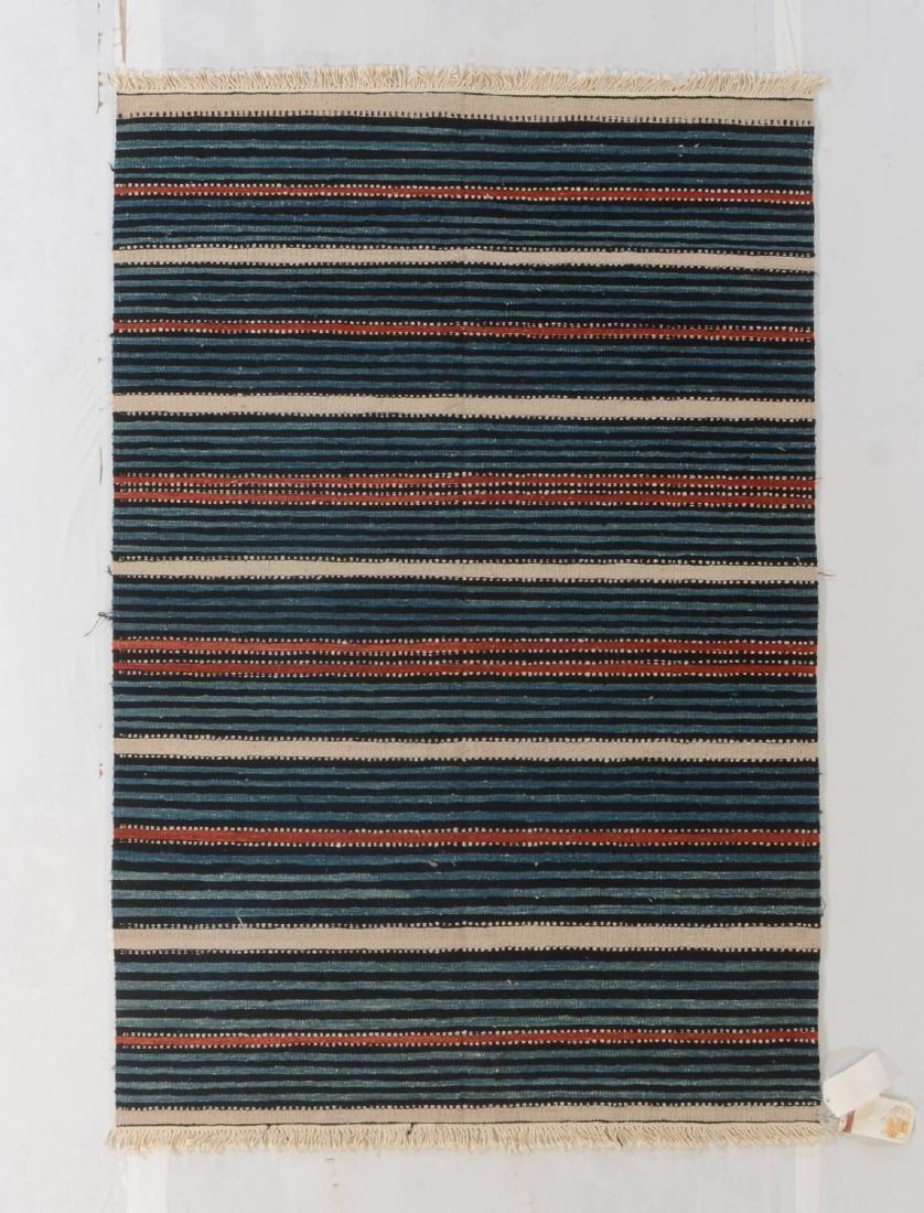 Modern Natural Dye Striped Kilim: 4'1'' x 6'