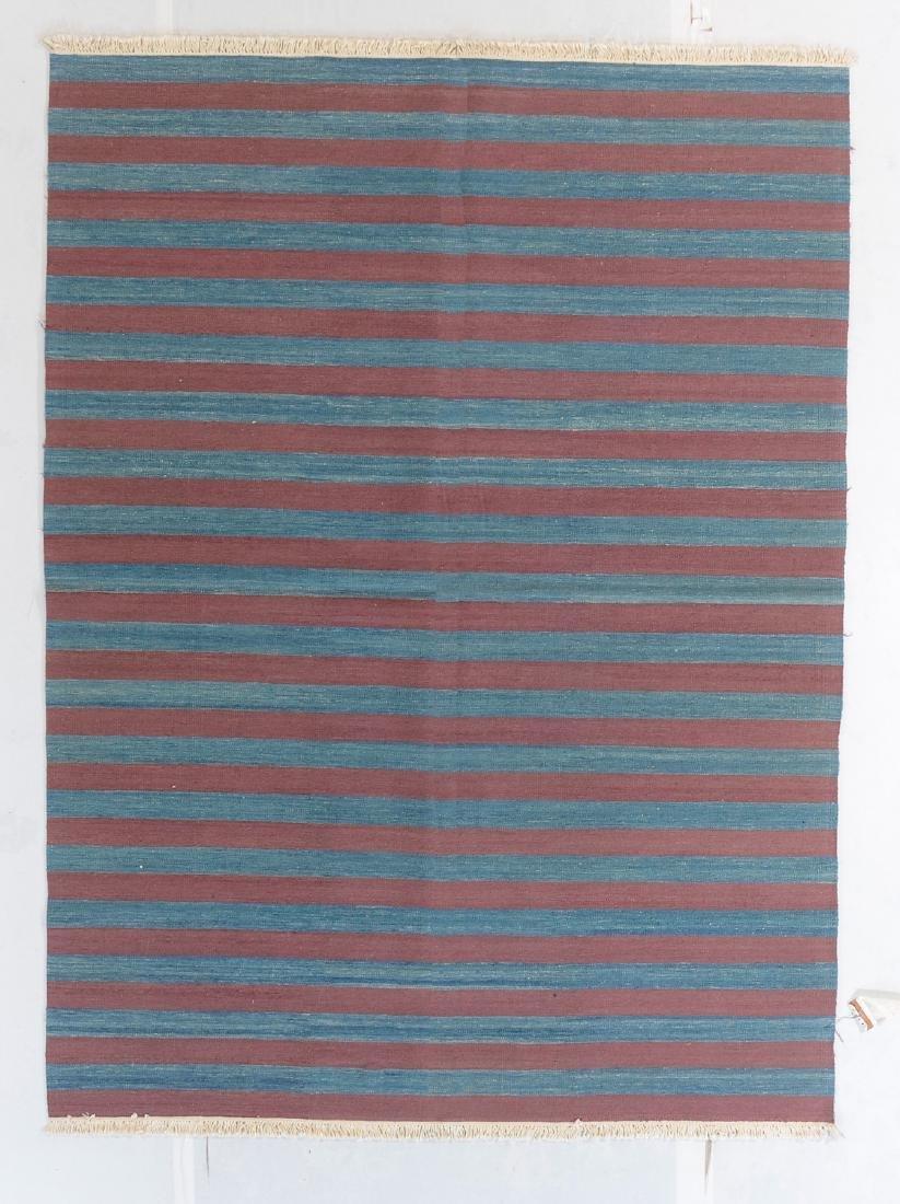 Modern Natural Dye Striped Kilim: 5'10'' x 7'11''