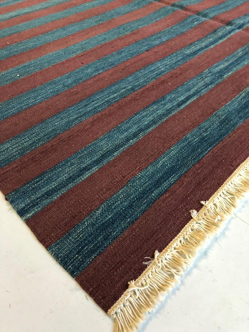 Modern Natural Dye Striped Kilim: 5'10'' x 7'11'' - 3