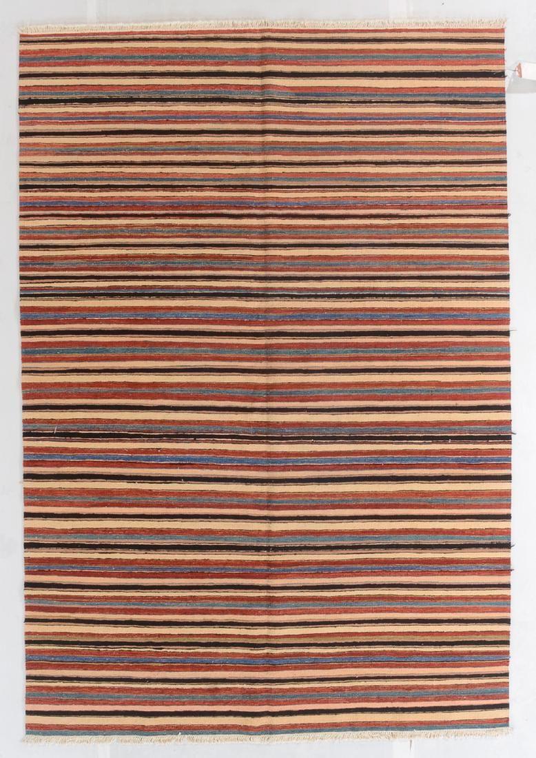 Modern Natural Dye Striped Kilim: 6'1'' x 8'11''