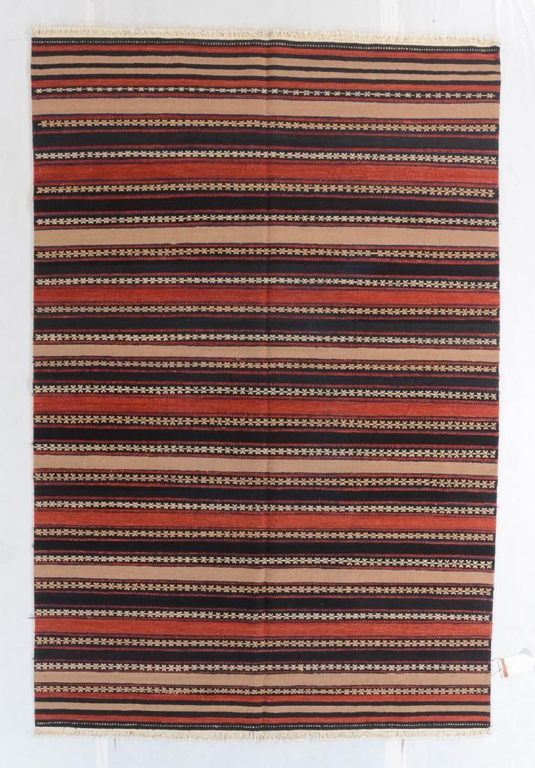 Modern Natural Dye Striped Kilim: 6' x 8'11''
