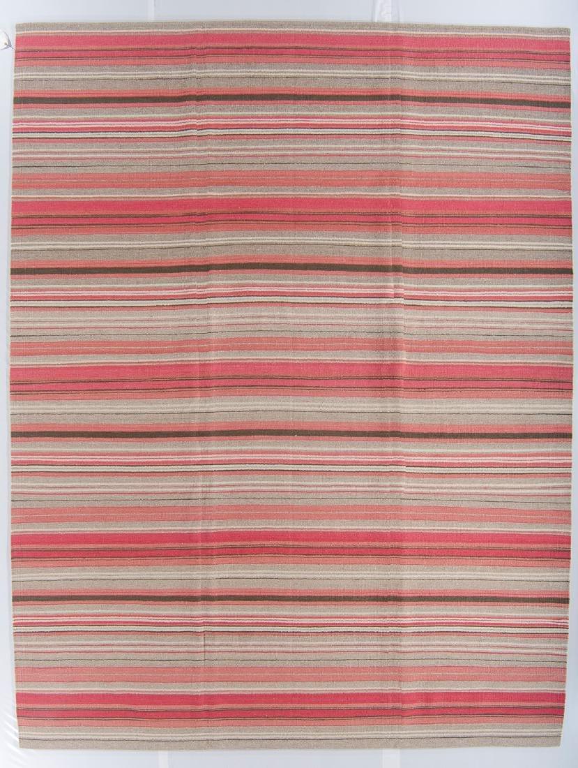 Modern Striped Nepali Wool Kilim: 9'4'' x 12'