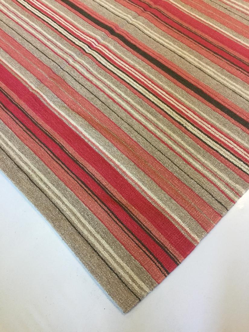 Modern Striped Nepali Wool Kilim: 9'4'' x 12' - 4
