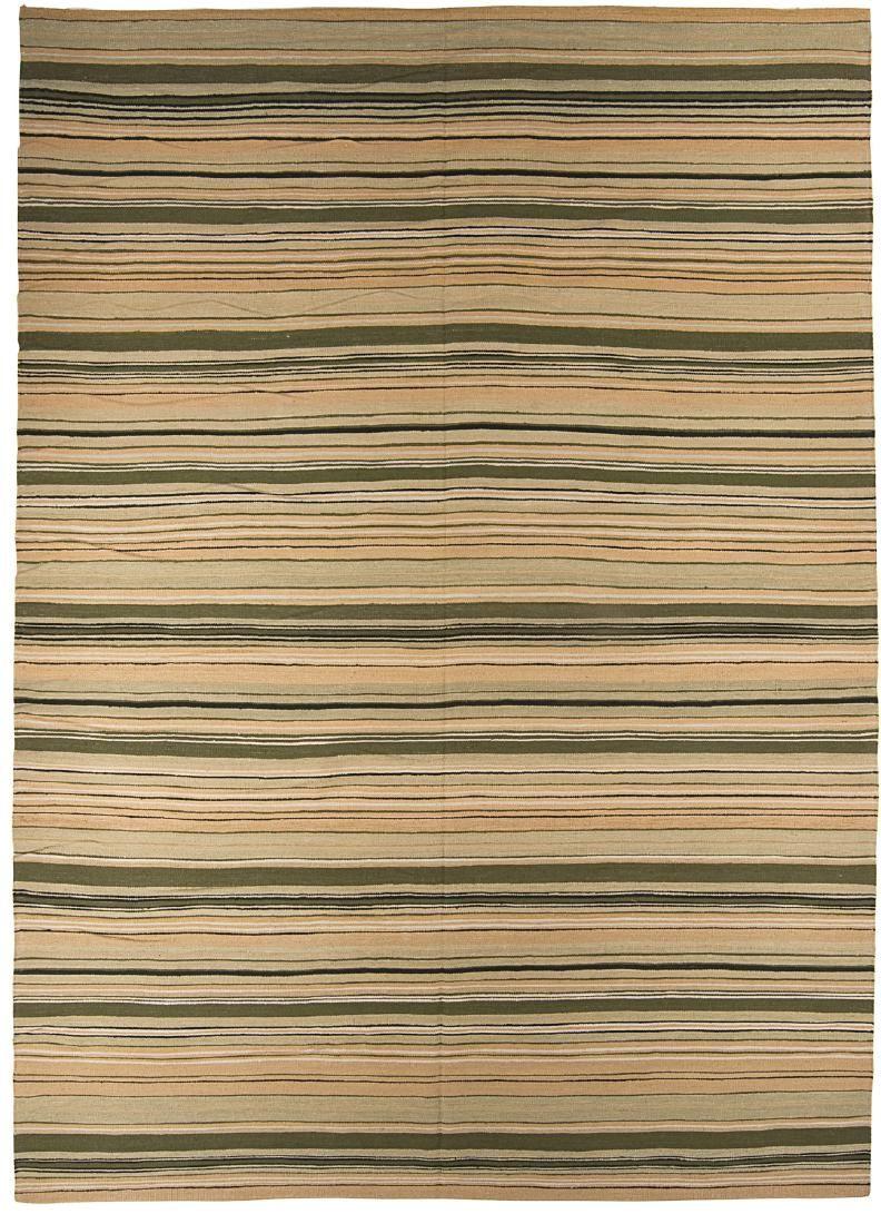 Modern Striped Nepali Wool Kilim: 10' x 14'