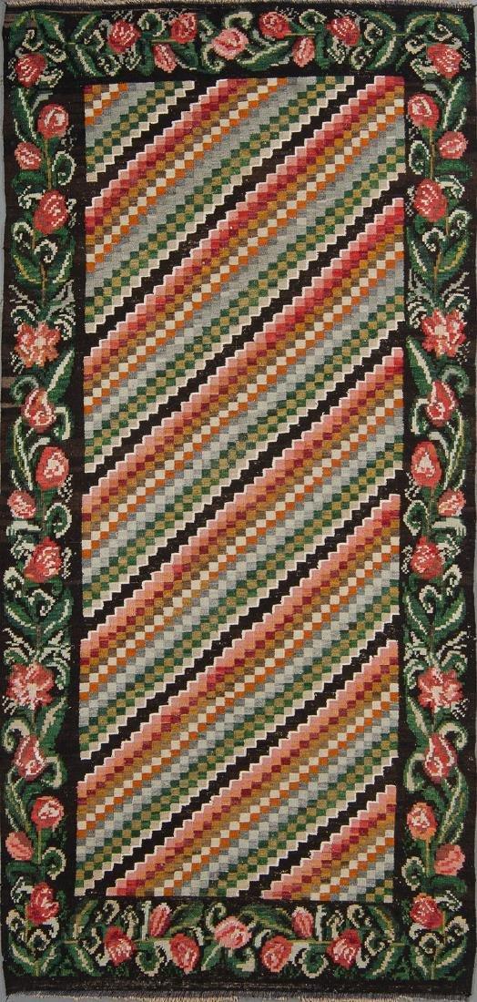 Semi-Antique Bessarabian Wool Kilim, Romania: 4'11'' x