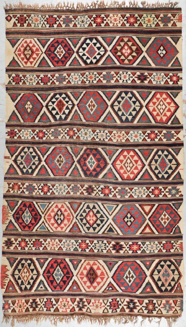"""Antique Shirvan Kilim, Caucasus: 5' x 8'3"""""""