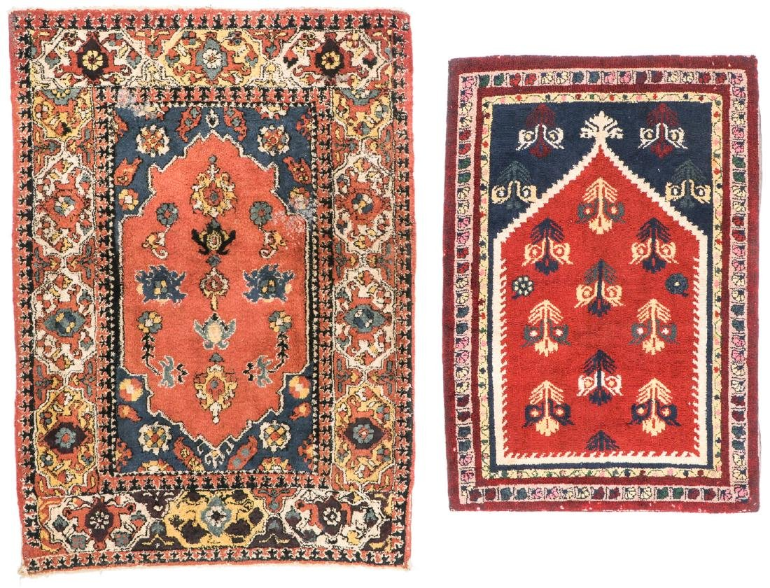 2 Antique European Hooked Rugs in Oriental Pattern