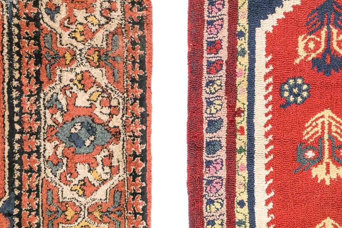 2 Antique European Hooked Rugs in Oriental Pattern - 2