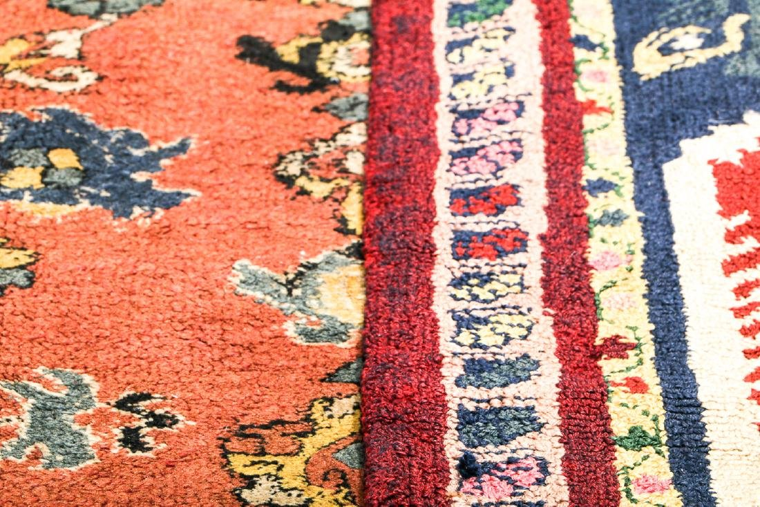 2 Antique European Hooked Rugs in Oriental Pattern - 5