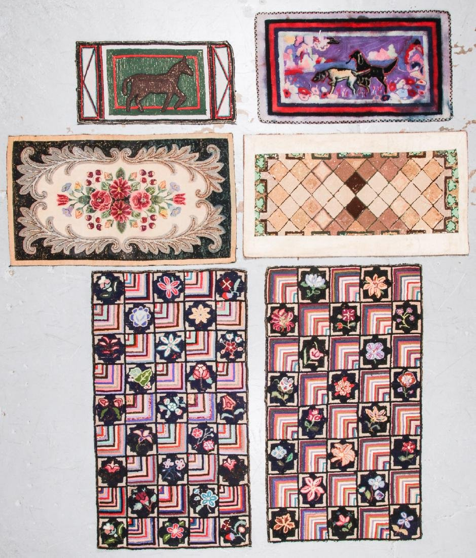 Estate lot of 6 Antique American Hooked Rugs - 6