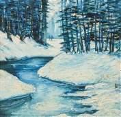 Edward Redfield (1869-1965) Winter Stream, Oil Painting