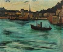 Isis Kischka (1908-1974) Harbor Scene