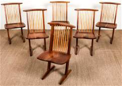 George Nakashima (1905-1990) Set of 6 Conoid Chairs