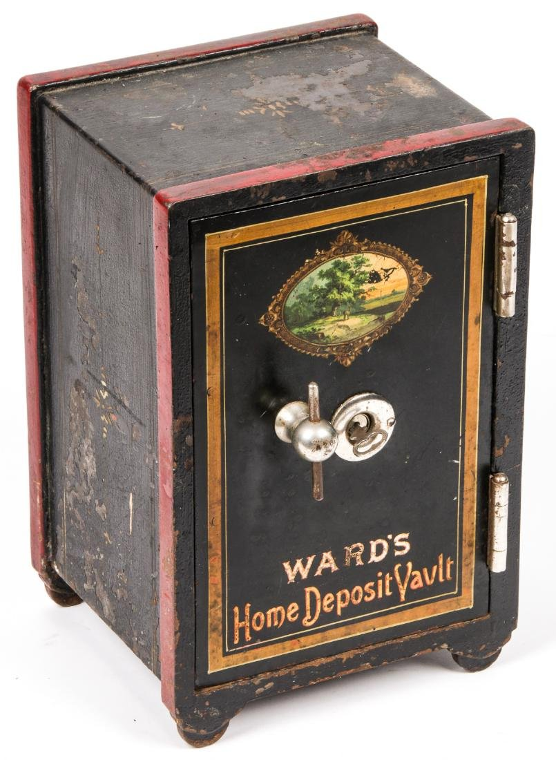 An Antique American Diminutive Paint-Decorated Safe
