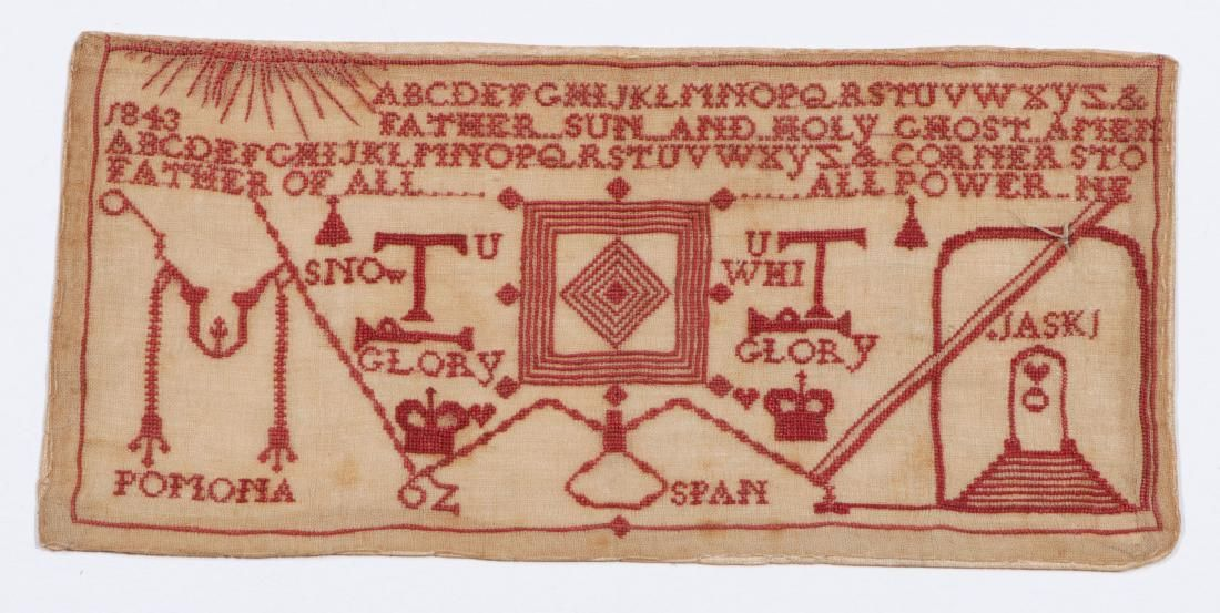 Rare Antique Masonic Embroidered Alphabet