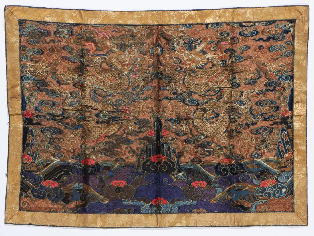 Antique Chinese Silk Dragon Brocade Embroidery
