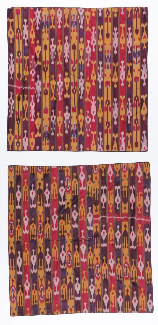 Pair of Antique Central Asian Silk Ikat Panels