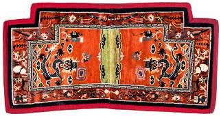 Tibetan Double Facing Dragon Saddle Rug: 2'2'' x 4'3''