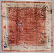 Chinese Art Deco Rug, Early 20th C: 9'10'' x 9'9''