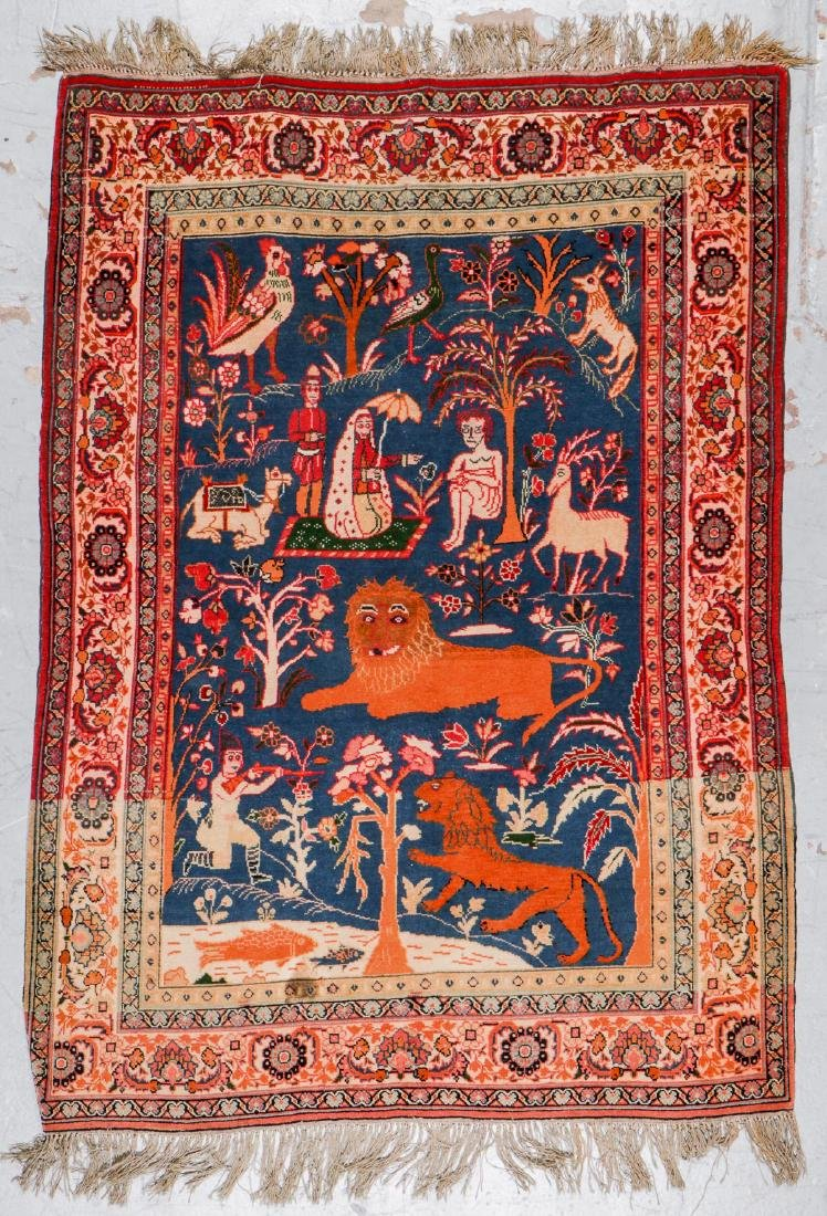 West Persian Pictorial Rug: 6'1'' x 4'7''