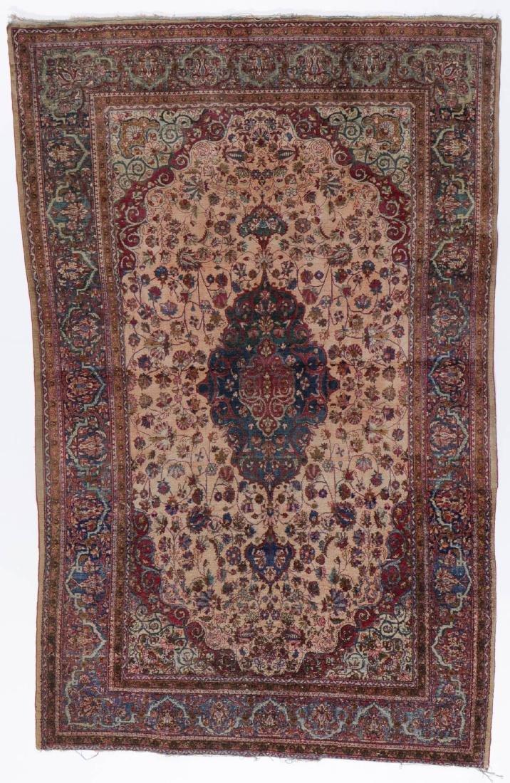 Antique Silk Kashan Rug, Persia: 4'1'' x 6'7''